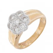 Bague fleur diamants 1,12 carat en or jaune et or blanc