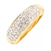 Bague jonc pavage de diamants 0.23 carat en or bicolore
