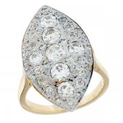 Bague marquise diamants 1,88 carat en or jaune et or blanc