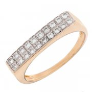 Bague rectangulaire diamants 0,20 carat en or bicolore