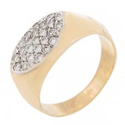Bague navette pavage de diamants 0,25 carat en or bicolore
