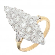 Bague marquise diamants 1,44 carat en or bicolore