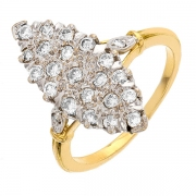 Bague marquise diamants 0,40 carat en or bicolore