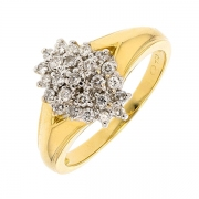 Bague florale pavage de diamants 0,37 carat en or bicolore