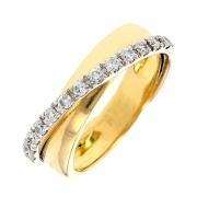 Bague entrelacs diamants 0,26 carat en or bicolore