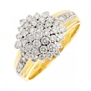 Bague pavage de diamants 1.30 carat en or bicolore