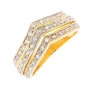 Bague chevrons diamants 0.45 carat en or bicolore