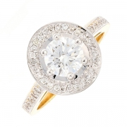 Bague diamants 1.18 carat en or bicolore avec certificat