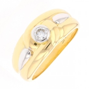 Bague diamant 0.15 carat en or bicolore