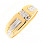 Bague diamant 0.04 carat en or bicolore