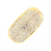 Bague pavage diamants 0.37 carat en or jaune