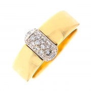 Bague pavage de diamants 0.30 carat en or bicolore