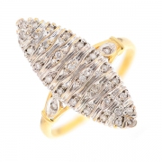 Bague marquise diamants 0.15 carat en or bicolore