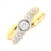 Bague croisillon diamants 0.52 carat en or bicolore