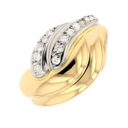 Bague diamants 0.18 carat en or bicolore