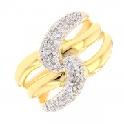 Bague entrelacs diamants 0.32 carat en or bicolore