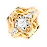 Bague diamants 0.46 carat en or bicolore