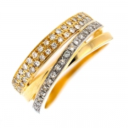 Bague entrelacs diamants 0.20 carat en or bicolore