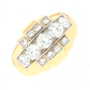 Bague diamants 2.10 carats en or bicolore