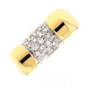 Bague pavage diamants 0.17 carat en or bicolore