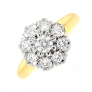 Bague fleur diamants 0.73 carat en or bicolore