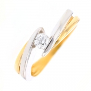Solitaire diamant 0.20 carat en or bicolore