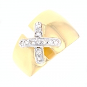 Bague liens diamants 0.16 carat en or bicolore