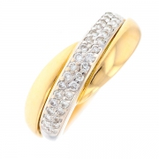 Bague entrelacs pavage diamants 0.32 carat en or bicolore
