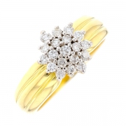 Bague fleur diamants 0.28 carat en or bicolore