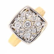 Bague diamants 0.57 carat en or bicolore