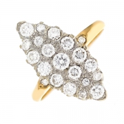 Bague marquise diamants 0.80 carat 2 ors