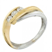 Garel - Bague diamants 0,31 carat en or jaune et or blanc