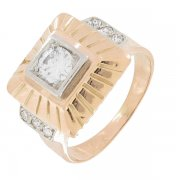 Bague vintage diamants 0,35 carat en or bicolore