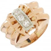 Bague tank diamants 0,29 carat en or bicolore