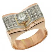 Bague tank vintage diamants 0,39 carat en or blanc et or rose