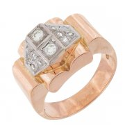 Bague tank vintage diamants 0,15 carat en or rose et or blanc