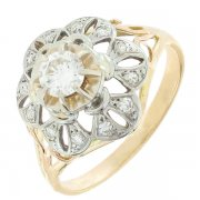 Bague florale diamants 0,38 carat en or bicolore
