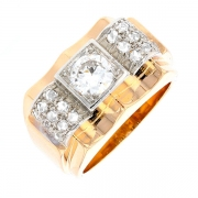 Bague TANK diamants 0.75 carat en or bicolore