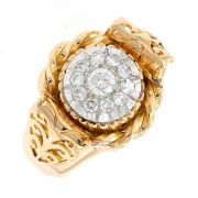 Bague vintage diamants 0.55 carat en or bicolore