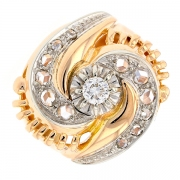 Bague vintage diamants 0.25 carat en or bicolore