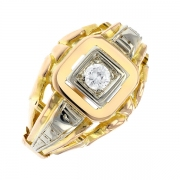 Bague vintage diamant 0.17 carat en or bicolore