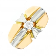 Bague diamant 0.25 carat en or bicolore
