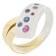 Bague saphirs 1,50 carat en or bicolore