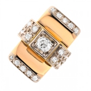 Bague vintage diamants 0.30 carat en or bicolore