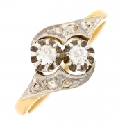 Bague diamants 0.12 carat 2 ors