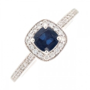 Bague saphir 0.89 carat et diamants 0.07 carat en or blanc