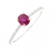 Bague saphir rose 0.52 carat et diamants 0.11 carat en or bicolore