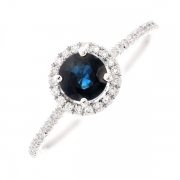 Bague ronde saphir 0.72 carat et diamants 0.15 carat en or blanc