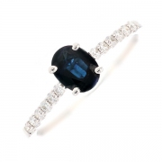 Bague saphir 0.73 carat et diamants 0.16 carat en or blanc