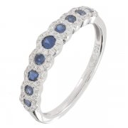 Bague saphirs 0,46 carat et diamants 0,22 carat en or blanc